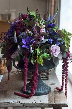 Exquisite blend of roses, hanging amaranthus, anemone #purpleflowers