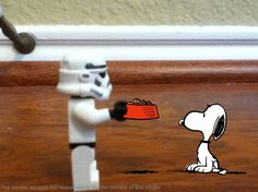 A storm trooper stole Snoopy's food dish!