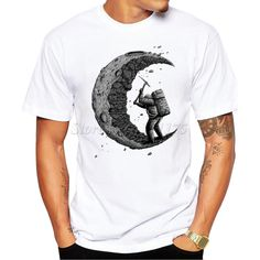 2016 Summer Fashion digging the moon Design T Shirt Men's High Quality Custom Printed Tops Hipster Tees
