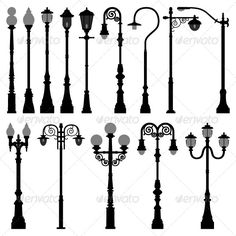 Buy Lamp Post Lamppost Street Road Light by Leremy on GraphicRiver. This is a big set of lamp post (city and street lights) for urban area in silhouette vector. This set of black silhou. Landscape Lighting, Outdoor Lighting, Entrance Lighting, Outdoor Lamp Posts, Garden Lamps, Silhouette Vector, Black Silhouette, Lamp Light, Planer
