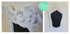 Moldura branca 'Floralis' com ardósea