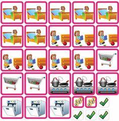 De pictogrammen 'Taken' omvat enkele huishoudelijke taken waarbij kinderen kunnen helpen.