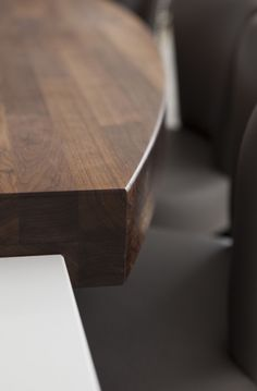 A close-up view of the 80mm walnut butchers block breakfast bar. #Kitchen #Kitchendesign #Interiors #Design