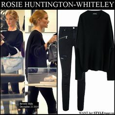 WHO: Rosie Huntington-Whiteley shopping in Beverly Hills on December 22 2014.  WHAT SHE WORE: Rosie wore black knit sweater by Zadig & Voltaire and black distressed skinny jeans by Paige Denim