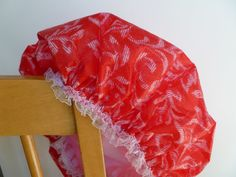 Waterproof Shower Cap Christmas Red White Swirls by GiftCreation, $15.50