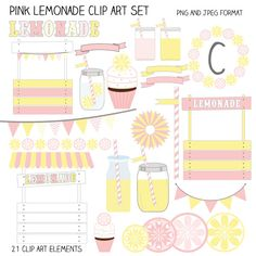 Pink Lemonade Clip Art Elements - great for invitations, cards and paper goods.