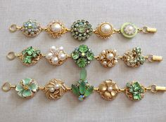 Vintage earring bracelets green pearl gold by ChicMaddiesBoutique