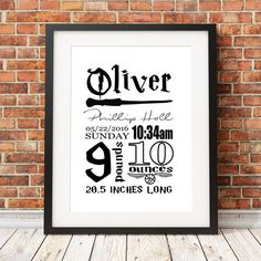 Harry Potter Birth Stats Baby Nursery Art Print by JosephPrints