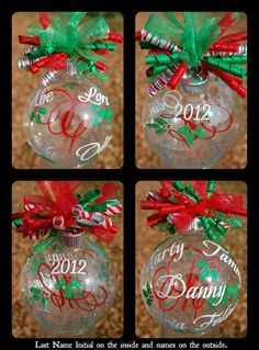 Floating Holly Family Name Christmas Ornament By Lyricalletters   Ornament Wedding Favors First Christmas