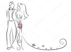 Silhouette de la mariée et marié, arrière-plan, invitation de mariage, le vecteur Easy Love Drawings, Couple Drawings, Wedding Drawing, Wedding Painting, Wedding Cards, Wedding Gifts, Modern Minimalist Wedding, Couple Painting, Minimalist Wedding Invitations