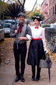 Mary Poppins and Bert. For the couple that likes to break out in song (or dance)! Needed: Black pants and leggings, black skirt, white button-up blouse, red belt and bowtie, grey vest and grey button-up shirt, suspenders, newsboy hat, black hat, fake flowers, handbag, deconstructed black broom and an umbrella. #halloween #couplescostumes