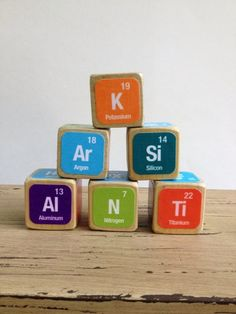Periodic table of the elements wooden blocks set of 118 wooden baby gifts for the geek parents you know urtaz Images
