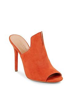 Halston Heritage Notched Suede Mules - Orange - Size