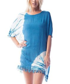 This Blue & White Tie-Dye Tunic is perfect! #zulilyfinds