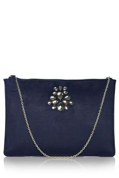 navy stone zip clutch by next