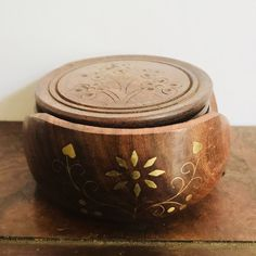 Set of Six Carved Wooden Coasters w/ Matching Holder Decorated w/ Inlaid Brass, Coaster Set, Housewarming Gift, Wedding gift, Boho decor by TheDustyWingVintage on Etsy