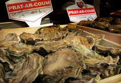 A box full of oysters is put on display at Rue Mouffetard, Paris' original open-air market.