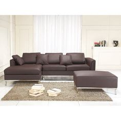 Sectional Sofa with Ottoman R Brown Leather OSLO #leathersectionalsofas