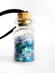 Blue Pixie Star Dust Bottle Necklace - AngieRikku on Etsy