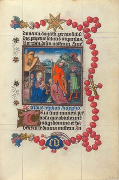 Demons and Devotion: The Hours of Catherine of Cleves Netherlands, Utrecht, ca. 1440 Adoration of the Magi. A page from this book of hours on display at the Morgan Library & Museum. Medieval Manuscript, Medieval Art, Illuminated Manuscript, Renaissance Art, Book Of Kells, Book Of Hours, Statues, Prayer Book, Middle Ages