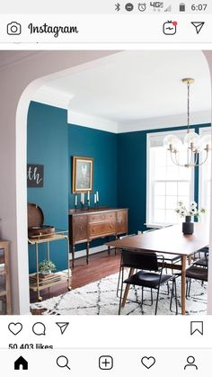 Bold teal dining room inspo ( submitted by Link in bio for more ways to use bl… – Home Decor&Remodel Turquoise Dining Room, Dining Room Blue, Dining Room Colors, Dining Room Walls, Dining Room Design, Teal Dining Room Paint, Teal Room Decor, Teal Dining Chairs, Teal Rooms