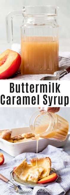 Move over maple syrup, this Buttermilk Caramel Syrup is a thick, delicious treat for pouring over pancakes, waffles, french toast, or even ice cream!  It's like liquid gold! #syrup #pancakes #waffles #frenchtoast #dutchbabies #germanpancakes #buttermilk #caramel #icecreamtopping #sauce #caramel #buttermilksyrup #caramelsyrup