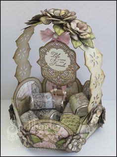Spellbinders Paper Arts -  Life is Better with Friends Candy Basket  designed by Marisa Jobs -full tutorial for the entire project on this post