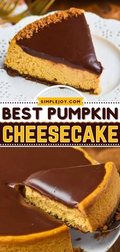 The best Thanksgiving dessert is just a few easy steps away! Everyone will love this pumpkin cheesecake with gingersnap crust. A chocolate ganache takes this sweet treat over the top! Put this pumpkin recipe on your fall baking list! Cheesecake Frosting, Pumpkin Pie Cheesecake, Baked Cheesecake Recipe, Thanksgiving Desserts Easy, Great Desserts, Pumpkin Recipes, Fall Recipes, Ganache Recipe