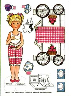 The Gingham Paper Doll Becky (Becky's Tea Party) Paper Toys, Paper Crafts, Paper Doll House, Paper Dolls Printable, Vintage Paper Dolls, Vintage Hats, Vintage Ladies, Holly Hobbie, Dollhouse Miniatures