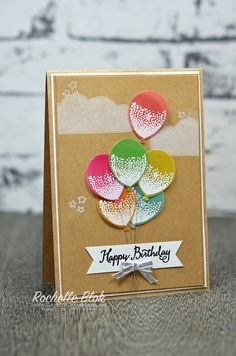 handmade birthday card: Balloon Celebration ... kraft base ... luv how she embossed, colored and punched out the balloon bouquet from vellum ... Stampin' Up!