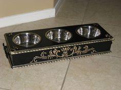 Black Distressed Elevated Pet Dog Bowl by pamperedpetdesigns