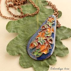 Pendant with oak leaves and acorns ornament autumn by Tsikorskaya Acorn Necklace, Leaf Necklace, Cat Jewelry, Enamel Jewelry, Jewellery, Oak Leaves, Autumn Leaves, Cat With Blue Eyes, Bird Earrings