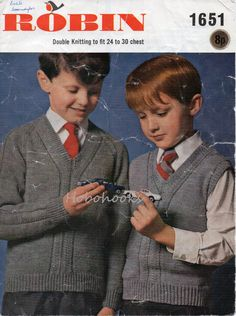 "childrens pattern panel sweater & slipover knitting pattern school sweater 24-30"" DK light worsted 8 ply childrens knitting pattern pdf by Minihobo on Etsy"