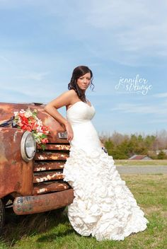 Spring Wedding in North Carolina, Rustic Barn, Wedding, Burlap, Bridal Session, Vintage, Old Chevy Truck, Copyright Jennifer Strange Photography