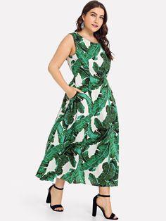 26bb7abe8c84 Shop Plus Mock Neck Palm Leaf Print Dress online. SheIn offers Plus Mock  Neck Palm