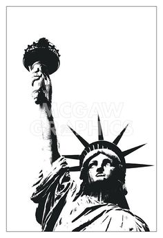 size: Stretched Canvas Print: Statue of Liberty (outline) by Erin Clark : Using advanced technology, we print the image directly onto canvas, stretch it onto support bars, and finish it with hand-painted edges and a protective coating. Statue Of Liberty Drawing, Statue Of Liberty Tattoo, Liberty Statue, Patriotic Tattoos, Outline Art, Clark Art, Arte Horror, Art Programs, Urban