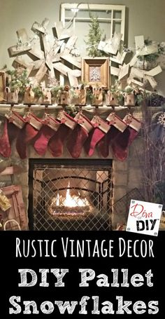 DIY Pallet Snowflake are the perfect addition to your rustic Christmas decorating! The are amazing Rustic fireplace mantle decorations that last all winter! Diy Snowflake Decorations, Christmas Decorations, Christmas Ideas, Christmas Crafts, Christmas Stuff, Holiday Fun, Christmas Time, Christmas Booth, Diy Ornaments