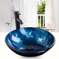 Bathroom-Round-Countertop-Glass-Vessel-Sink-Bowl-ORB-Faucet-Pop-up-Drain-Set