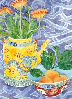 Marigolds in a yellow teapot, Gabby Malpas. Sydney 2011. Watercolour and pencil on paper