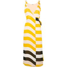Fendi striped dress ($2,325) ❤ liked on Polyvore featuring dresses, long dresses, pink silk dress, v-neck dresses, striped sleeveless dress and pink v neck dress