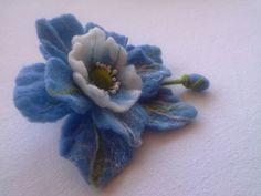 Wool felt jewelry Blue White Felt Flower Brooch Hair от danyfelt