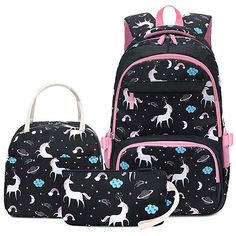 Black Horse Fantasy Jacks Outlet School Backpack and Pencil Case Set