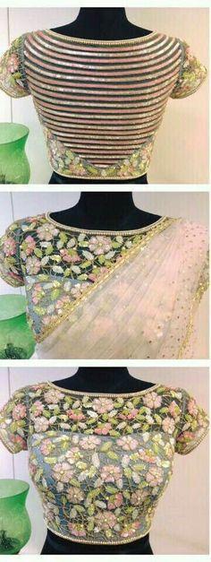 Wedding Special Back Neck Blouse Designs For Girls - FashionShala Sari Blouse Designs, Fancy Blouse Designs, Bridal Blouse Designs, Blouse Styles, Choli Blouse Design, Blouse Patterns, Stylish Blouse Design, Blouse Models, Bollywood