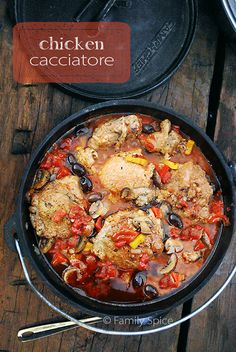 Dutch Oven Chicken Cacciatore is a very healthy meal to make, full of exotic mushrooms, bell peppers and kalamata olives.