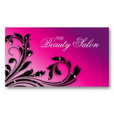 Trendy Hot Pink and Black Fashion Beauty Salon Business Card | A ...