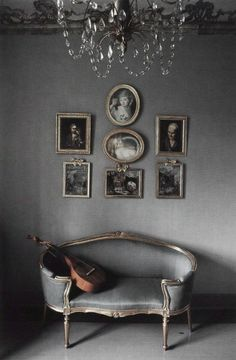 gray settee and walls
