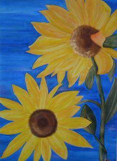 Sun Flowers  original acrylic on canvas by bellakoolla on Etsy, $350.00
