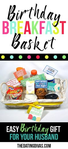 Basket Gifts Do it Yourself Gift Basket Ideas for All Occasions – Birthday-Breakfast-Gift-Basket-for-Husband with Printables via The Dating Divas Birthday Breakfast For Husband, Birthday Present For Husband, Birthday Gifts For Husband, Birthday Presents, Husband Valentine, Breakfast Basket, Breakfast Ideas, Birthday Gift Baskets, Birthday Diy