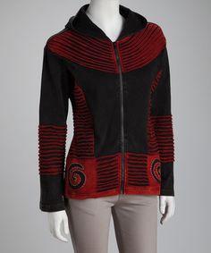 Look what I found on #zulily! Black & Red Spiral Zip-Up Hoodie #zulilyfinds
