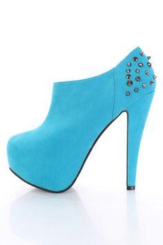 #blue #turquoise #studs #spikes #suede #fauxsuede #booties #heels #platforms